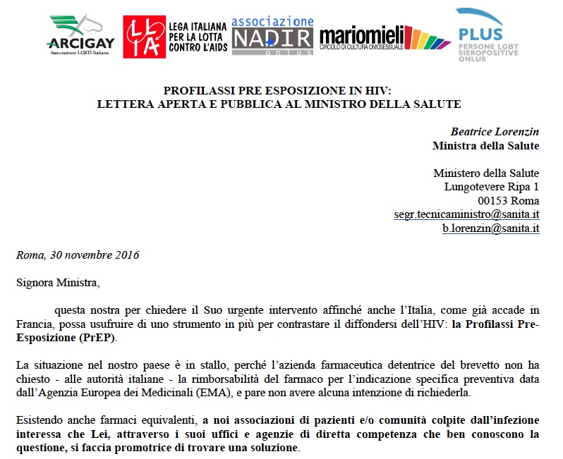 Lettera alla ministra Lorenzin